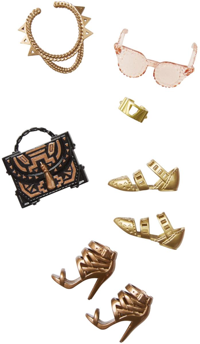 Barbie Набор обуви и аксессуаров для кукол цвет коричневый золотойCFX30_DHC56Каждый день новый очаровательный наряд - это возможно с набором обуви и аксессуаров Barbie. Современные силуэты, нарядные цвета и детали оживят любую игру с куклой. В набор входят туфли на плоской подошве, босоножки на каблучках и черная стильная сумочка. С этим набором у вашей куколки появятся ещё солнечные очки, оригинальное колье и браслетик золотого цвета. Комбинируйте аксессуары с разными нарядами, чтобы расширить гардероб своих модниц. Одежда подходит большинству кукол Барби. Куклы продаются отдельно.