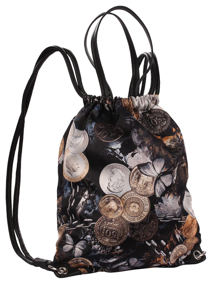 Рюкзак городской Pola, цвет: черный. 14л. 43504350Тканевый женский мешок- рюкзак фирмы Pola затягивается шнурками из экокожи. Внутри расположено одно основное отделение с двумя карманами на молнии и двумя открытыми карманами для мелких предметов. На внешней стороне рюкзака есть карман на молнии. Высота ручек 21 см. Цвет фурнитуры- серебро.