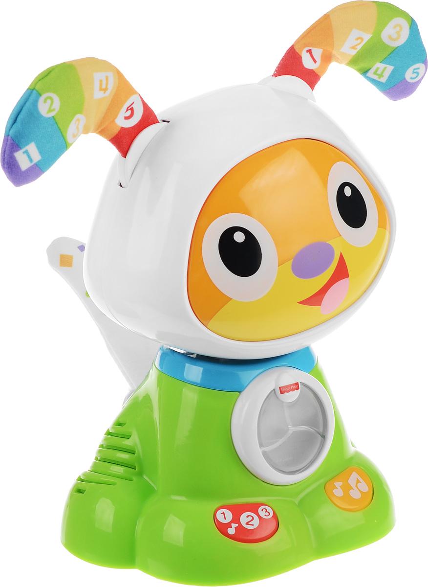 Fisher Price Развивающая игрушка Танцующий щенок робота БибоFBC96Это четвероногий друг Бибо, который всегда рад узнавать новое, а также двигаться и танцевать! Его забавное покачивание головой, огоньки, звуки и песенки побуждают малыша к обучению в игровой форме. С таким милым щенком обучение счету и цветам превращается в веселую игру! Развивающая игрушка Fisher Price Танцующий щенок робота Бибо - лучший друг, который всегда готов танцевать и играть! Ваш ребенок обязательно будет танцевать с ним вместе, одновременно учась различать цвета и считать! Нажимайте на кнопки на лапах Бибо, чтобы увидеть огоньки и услышать музыку! Он так рад вас видеть, что его мягкий хвост со светодиодными огоньками так и виляет из стороны в сторону! Мягкие гибкие уши щенка забавно реагируют на действия ребенка - так малыш узнает о причинах и следствиях! Игрушка развивает крупную и мелкую моторику ребенка. Музыка, песни и яркие цвета развивают восприятие. Рекомендуется докупить 4 батарейки напряжением 1,5V типа АА (товар комплектуется демонстрационными).