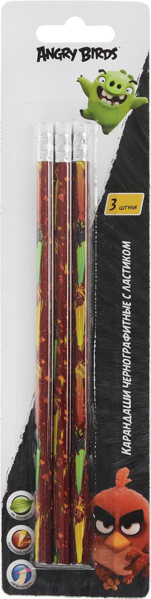 Angry Birds Набор чернографитных карандашей с ластиком 3 шт