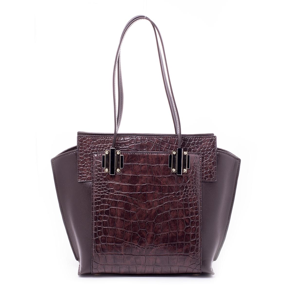 Сумка женская Renee Kler, цвет: коричневый. RF028-03RF028-03Стильная женская сумка Renee Kler выполнена из качественной искусственной кожи. Поверхность сумки выполнена с декоративным тиснением. Сумка имеет одно отделение и застегивается на молнию. Внутри отделения находятся два накладных кармана и один врезной карман на застежке-молнии. С двух сторон сумка дополнена большими накладными карманами на магнитных кнопках. Сумка оснащена двумя удобными ручками на металлической фурнитуре.