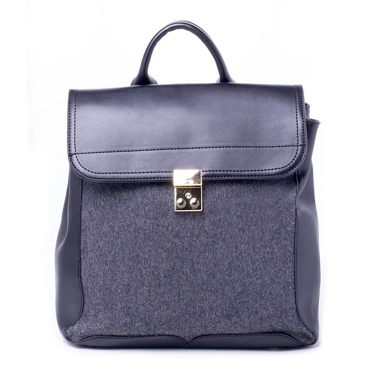 Рюкзак женский Renee Kler, цвет: черный, серый. RK401-01/20RK401-01/20Загрязнения на изделиях удаляется влажной мягкой тканью
