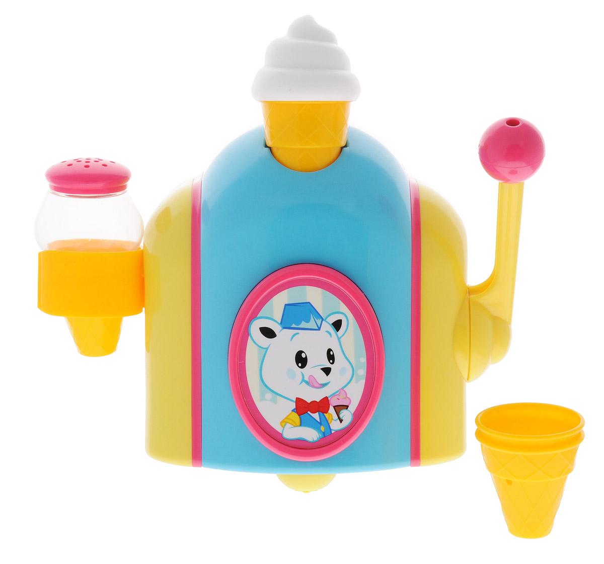 Tomy Игрушка для ванной Фабрика пеныE72378Игрушка для ванной Tomy Фабрика пены поможет в игровой увлекательной форме приучить вашего малыша к водным процедурам! В комплект входят: автомат для мороженого, 3 стаканчика, шейкер-солонка. Чтобы начать игру, малышу нужно налить пену для ванны или гель для душа в стаканчик, расположенный наверху автомата для мороженого. Затем нужно подставить стаканчик под отверстие внизу волшебного автомата и опустить рычажок вниз-формочка наполнится пушистой белой пеной, так похожей на шапку мороженого. Малыш сможет украсить свой десерт, наполнив шейкер пеной для ванны и посыпав ею лакомство. С фабрикой пены малыш может запустить производство мороженого!