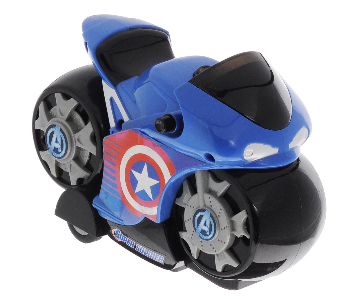 Avengers Мотоцикл инерционный Captain America5073_синийИнерционный мотоцикл Avengers Captain America подойдет для самых юных поклонников знаменитых героев Marvel. Несмотря на несколько мультяшный дизайн, в мотоцикле прекрасно узнается персонаж, которому он предназначен: синий с эмблемой сбоку для персонажа Капитана Америки. Мотоцикл оснащен инерционным механизмом и световыми эффектами. Порадуйте свое драгоценное чадо столь интересным, занимательным и развлекательным подарком. Рекомендуется докупить 3 батарейки напряжением 1,5V типа AG13 (товар комплектуется демонстрационными).