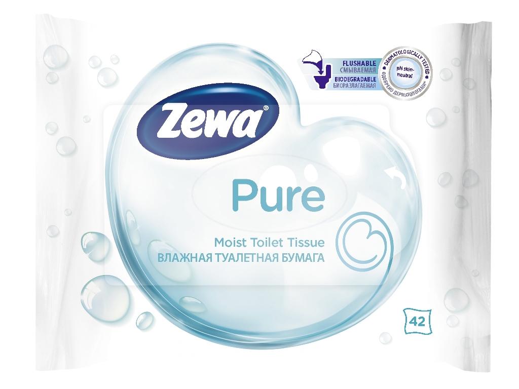 Бумага туалетная Zewa Pure, влажная, 42 листа6788Влажная туалетная бумага Zewa подарит вам ощущение чистоты и свежести. Она обеспечивает мягкое очищение, растворяется в воде и разлагается в природных условиях. Белая влажная туалетная бумага без аромата 42 мягких влажных листка в упаковке Производство: Великобритания Смываемая, биоразлагаемая, одобрена дерматологами, PH-нейтральная для кожи