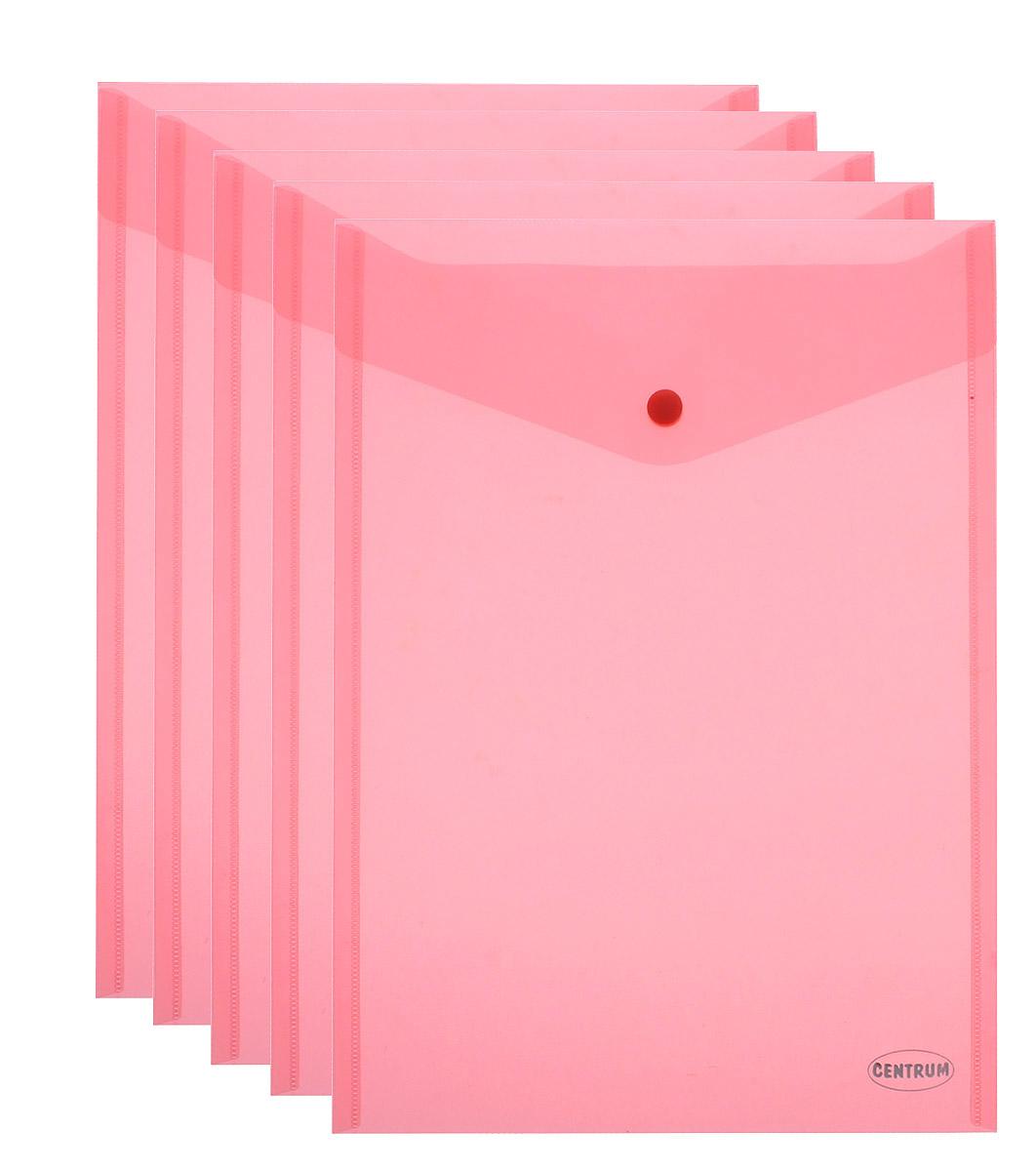 Centrum Папка-конверт на кнопке цвет коралловый формат А4 5 шт80046Папка-конверт на кнопке Centrum - это удобный и функциональный офисный инструмент, предназначенный для хранения и транспортировки рабочих бумаг и документов формата А4. Папка изготовлена из полупрозрачного пластика, закрывается клапаном на кнопке. Вместимость папки - 250 листов. В комплект входят 5 папок разных цветов формата A4. Папка-конверт - это незаменимый атрибут для студента, школьника, офисного работника. Такая папка надежно сохранит ваши документы и сбережет их от повреждений, пыли и влаги.