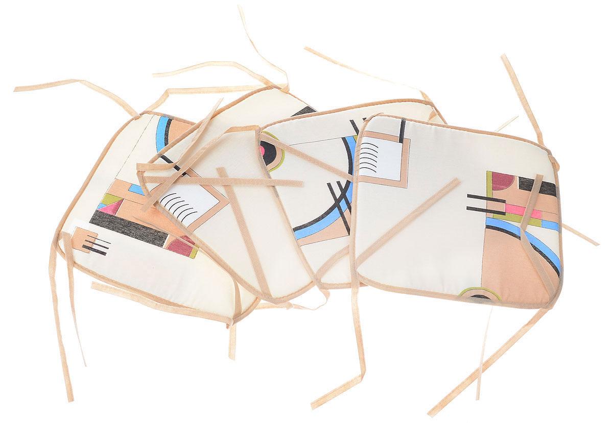 Подушка на стул Eva, цвет: бежевый, синий, розовый, 34 х 34 см, 4 штЕ06-1_бежевыйПодушка на стул Eva выполнена из хлопка с наполнителем из поролона. Изделие легко крепится на стул с помощью завязок. Такая подушка прекрасно подойдет для стульев на кухне или в столовой. Правильно сидеть - значит сохранить здоровье на долгие годы. Жесткие сидения подвергают наше здоровье опасности. Подушка с наполнителем из поролона поможет предотвратить многие беды, которыми грозит сидячий образ жизни.