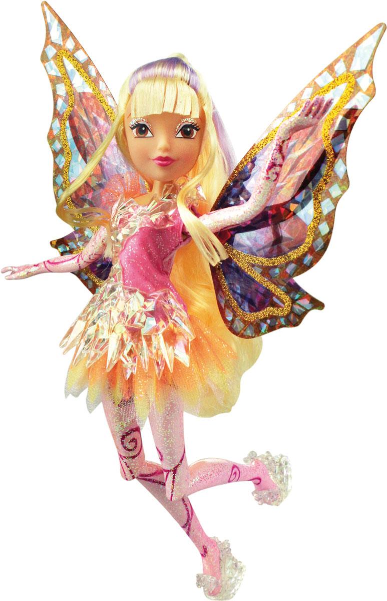 Winx Club Кукла Тайникс StellaIW01311500_StellaКукла Winx Club Тайникс Stella по-настоящему обрадует юных любительниц популярного мультсериала. Удивительный наряд и чудесная обувь, подвижные руки и ноги, шикарные длинные волосы, съёмные крылышки, пластиковый элемент для платья, стильная расчёска- все это понравится всем поклонницам фей.Стелла - очаровательная, женственная, нежная и милая фея. Она является повелительницей Солярия, одной из планет. Она немного старше своих подруг, поэтому часто берет на себя роль лидера. Стелла заботится и поддерживает всех членов клуба волшебниц Винкс. Одежда и аксессуары куклы полностью повторяют стиль одноименной героини сериала. Вместе с куклой Стеллой в комплект входят съёмные крылышки,которые светятся и порхают с помощью простого механического рычажка совсем как у любимой героини, пластиковый элемент для платья, стильная расчёска. Потребуется 1 батарейка CR2032.(входит в комплект).