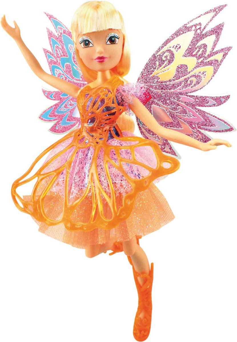 Winx Club Кукла Баттерфликс-2 StellaIW01251500_StellaВсе девочки мечтают играть с куклами Winx, ведь они выполнены в виде знаменитых девушек-фей из мультсериала Winx Club. Феи-подружки Блум, Стелла, Текна, Муза, Лейла и Флора выручают друг друга в беде и спасают мир от темных сил. Юные феи Winx - удивительные могущественные волшебницы, которым под силу любое превращение Кукла Winx Club Баттерфликс-2. Stella порадует вашу малышку и доставит ей много удовольствия от часов, посвященных игре с ней. Куколка с длинными белыми волосами одета в блестящее разноцветное платье, украшенное пластиковой текстурой сверху, а на ногах - длинные босоножки. Образ дополняют съемные розовые крылышки. Также в комплекте с куклой есть необычайные блестящие крылышки для ребенка. Крылышки крепятся на плечи ребенка двумя резинками. Ручки, ножки и голова Стеллы подвижны. Ваша малышка с удовольствием будет играть с этой куколкой, проигрывая сюжеты из мультсериала или придумывая различные истории. Заводная Стелла без ума от...