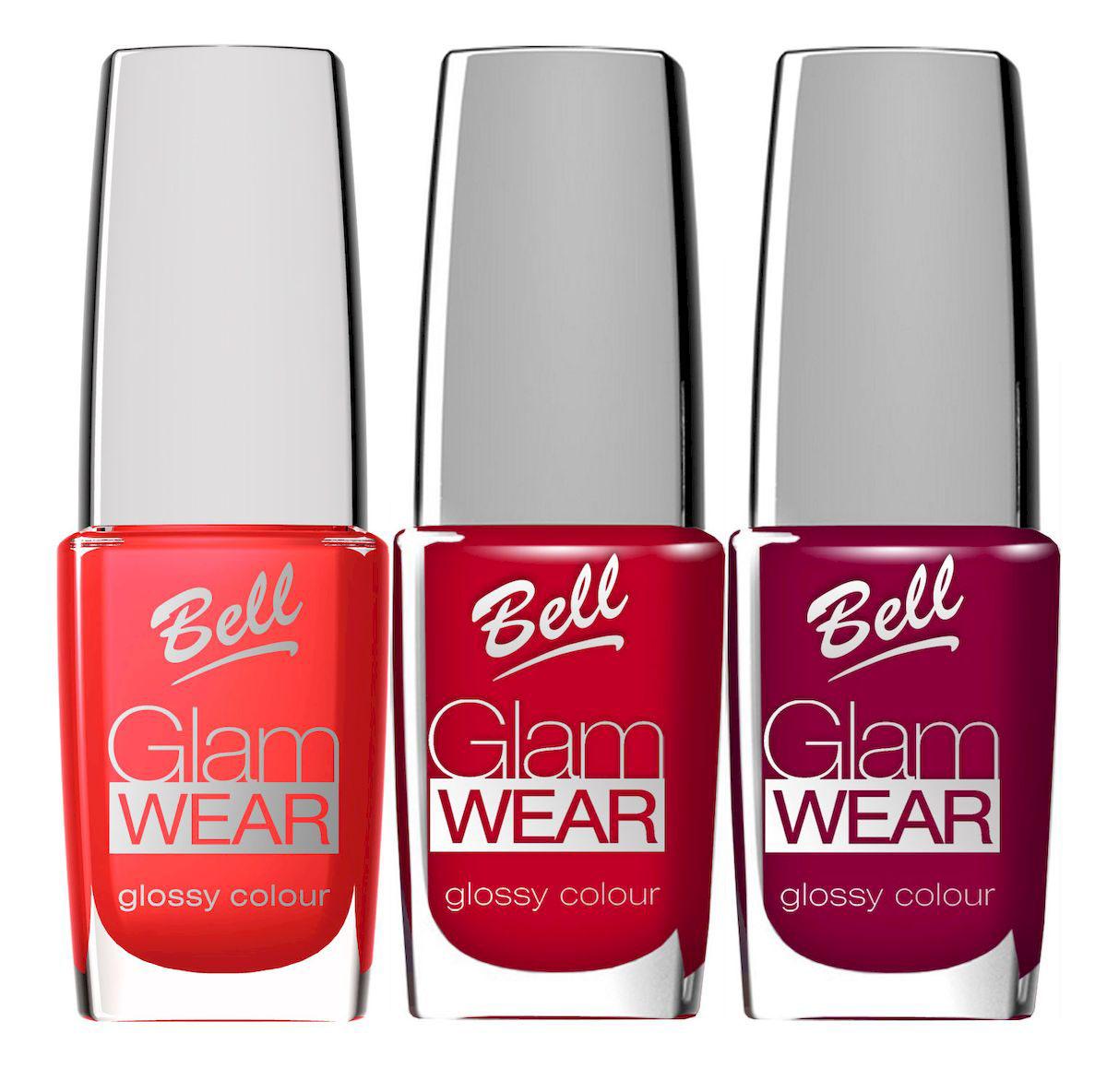 Bell Набор устойчивых лаков для ногтей с глянцевым эффектом Glam Wear Nail: тон №404 , тон №405, тон №406, 30 мл