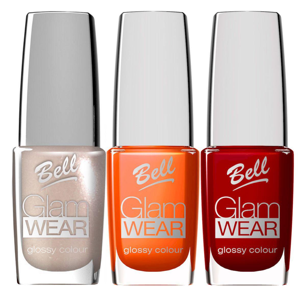 Bell Набор устойчивых лаков для ногтей с глянцевым эффектом Glam Wear Nail: тон №417, тон №418, тон №419, 30 млBsp24Устойчивый лак для ногтей.