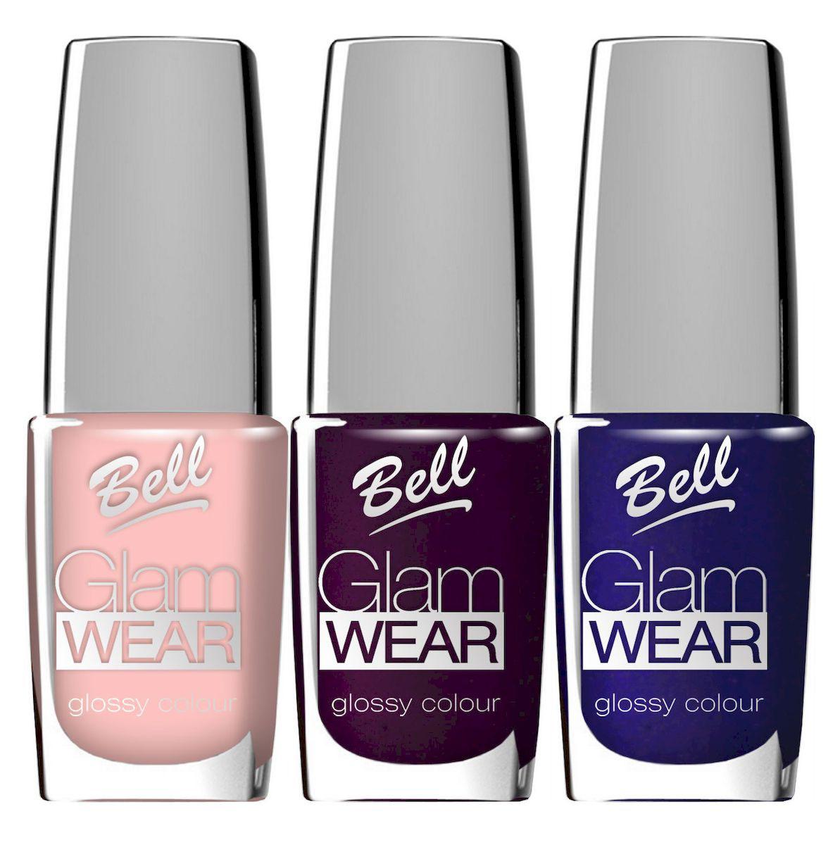 Bell Набор устойчивых лаков для ногтей с глянцевым эффектом Glam Wear Nail: тон №423, тон №424, тон №440, 30 мл