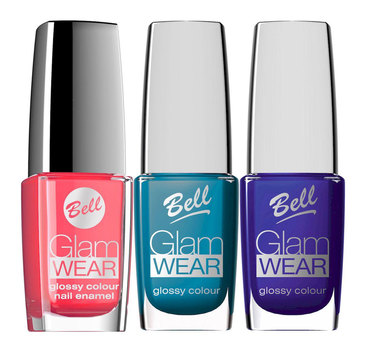 Bell Набор устойчивых лаков для ногтей с глянцевым эффектом Glam Wear Nail: тон №508, тон №513, тон №520, 30 млBsp27Устойчивый лак для ногтей.