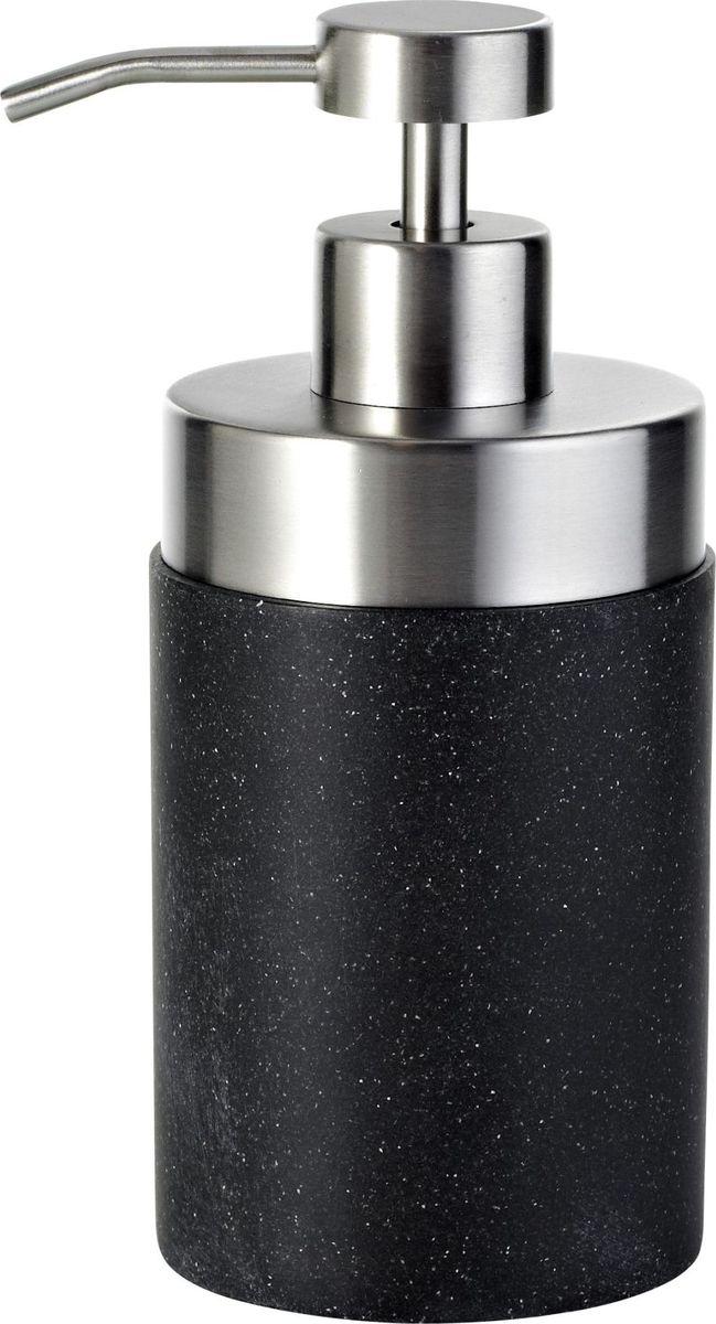Дозатор для жидкого мыла Ridder Stone, цвет: черный22010510Изделия данной серии устойчивы к ультрафиолету, т.к. изготавливаются из добротной полирезиры Экологичная полирезина — это твердый многокомпонентый материал на основе синтетической смолы, с добавлением каменной крошки и красящих пигментов
