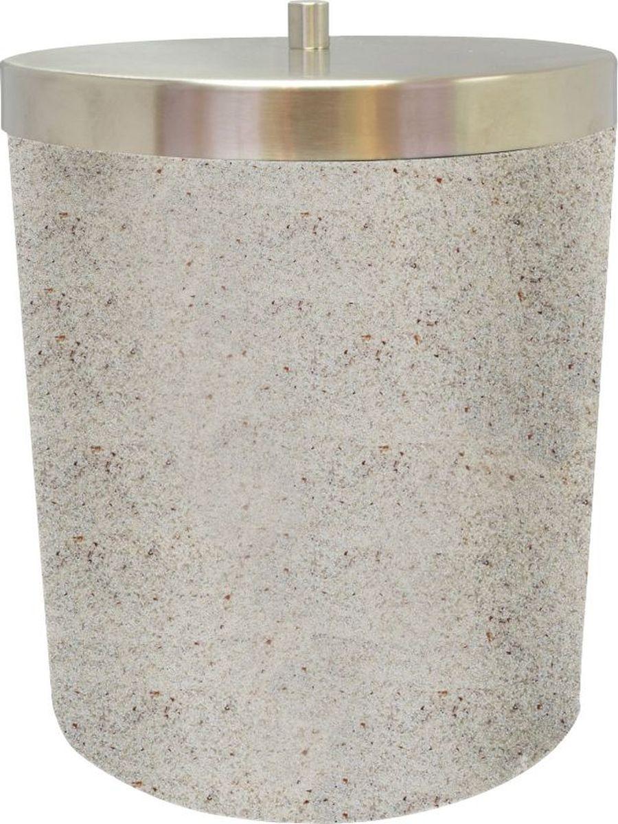 Ведро мусорное Ridder Stone, цвет: бежевый, 5 л22010811Изделия данной серии устойчивы к ультрафиолету, т.к. изготавливаются из добротной полирезиры Экологичная полирезина — это твердый многокомпонентый материал на основе синтетической смолы, с добавлением каменной крошки и красящих пигментов