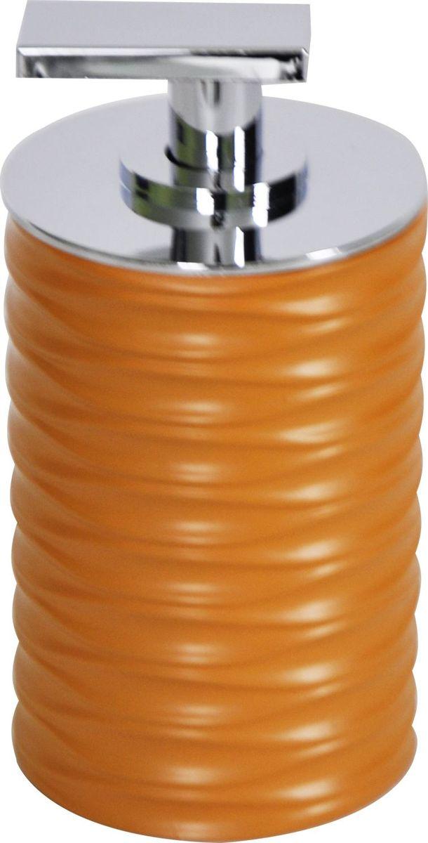 Дозатор для жидкого мыла Ridder Swing, цвет: оранжевый22300519Изделия данной серии устойчивы к ультрафиолету, т.к. изготавливаются из добротной полирезиры Экологичная полирезина — это твердый многокомпонентый материал на основе синтетической смолы, с добавлением каменной крошки и красящих пигментов
