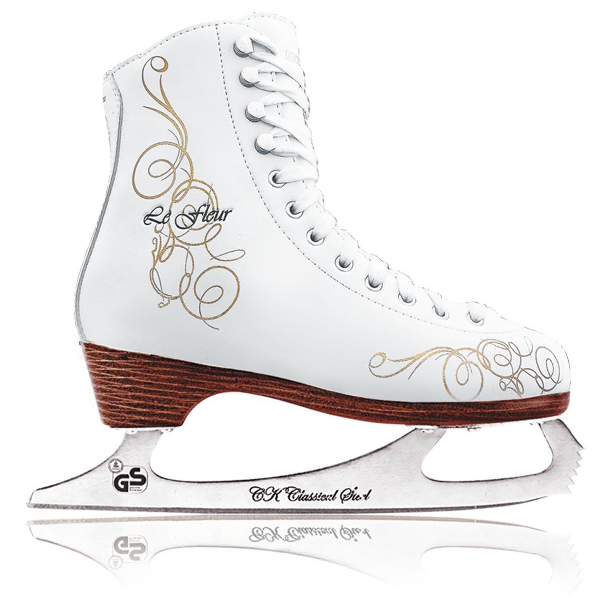 Коньки фигурные для девочки СК Le Fleur Leather 50/50, цвет: белый, золотой. Размер 33