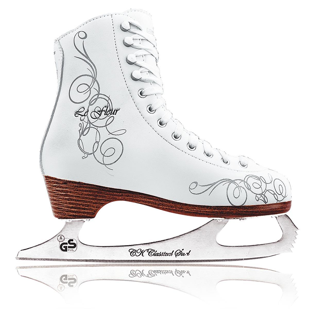 Коньки фигурные для девочки СК Le Fleur Fur, цвет: белый, серебряный. Размер 32