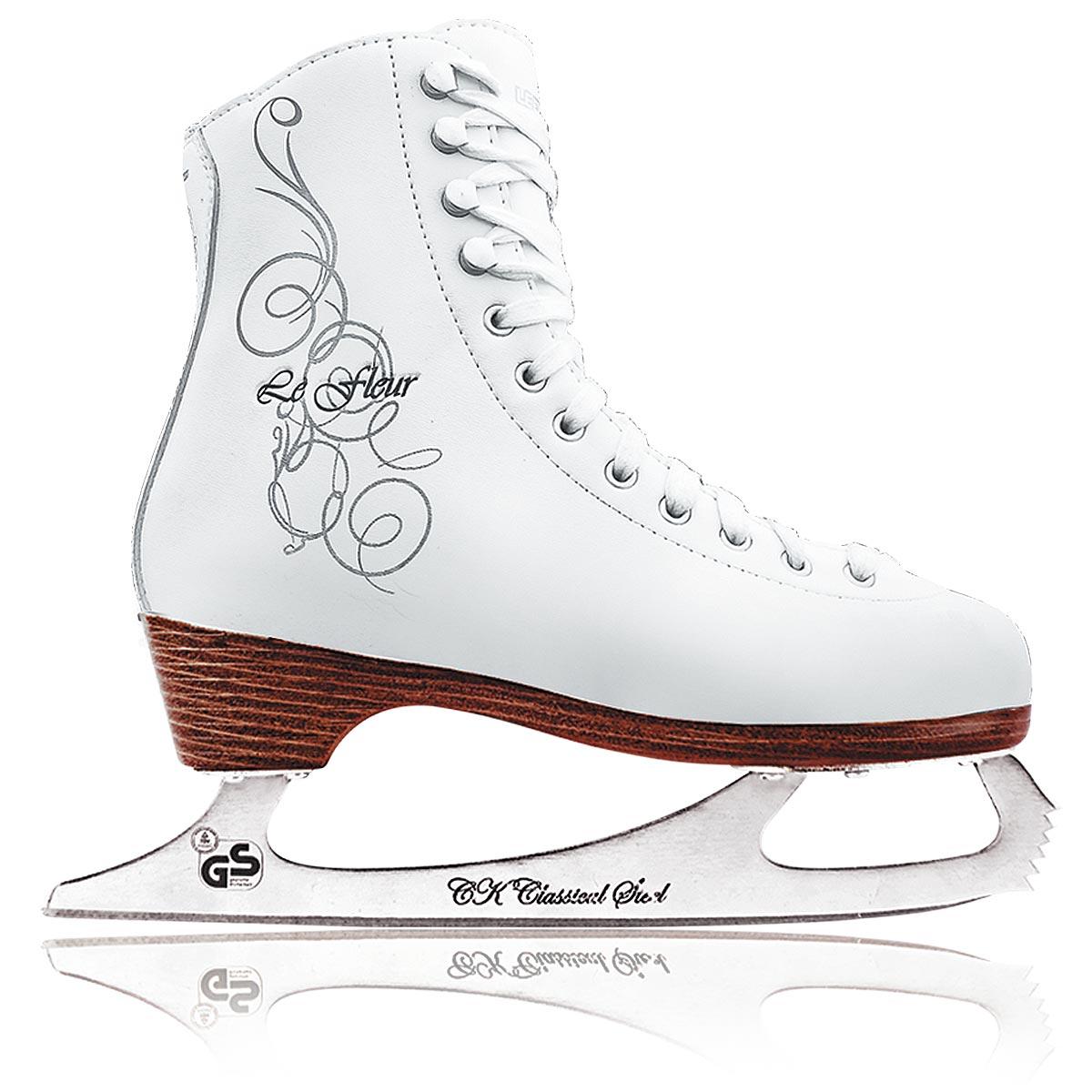 Коньки фигурные для девочки СК Le Fleur Leather 100%, цвет: белый, серебряный. Размер 28Le Fleur Leather 100%_белый, серебряный_28