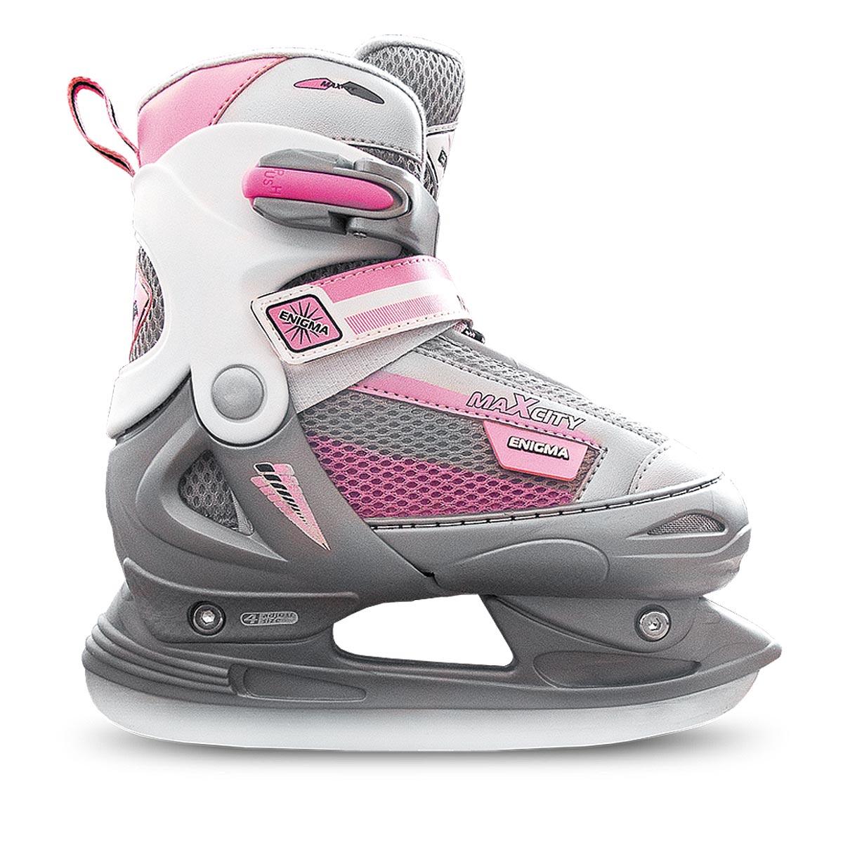 Коньки ледовые для девочки MaxCity Enigma girl, раздвижные, цвет: розовый, серый. Размер 34/37