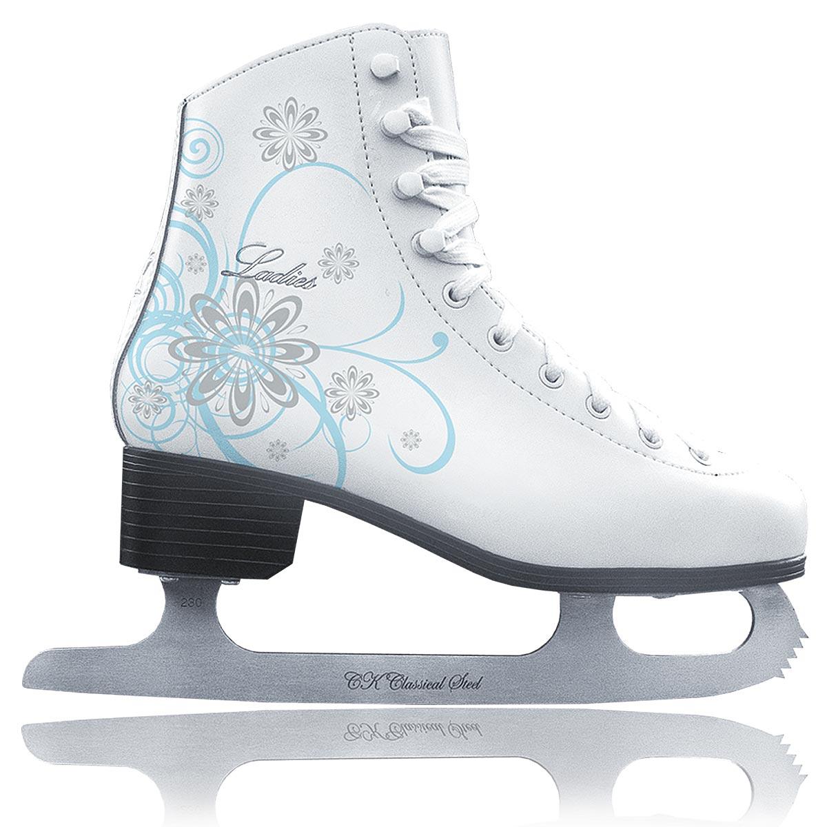 Коньки фигурные для девочки CK Ladies Velvet Classic, цвет: белый, голубой, серебряный. Размер 30
