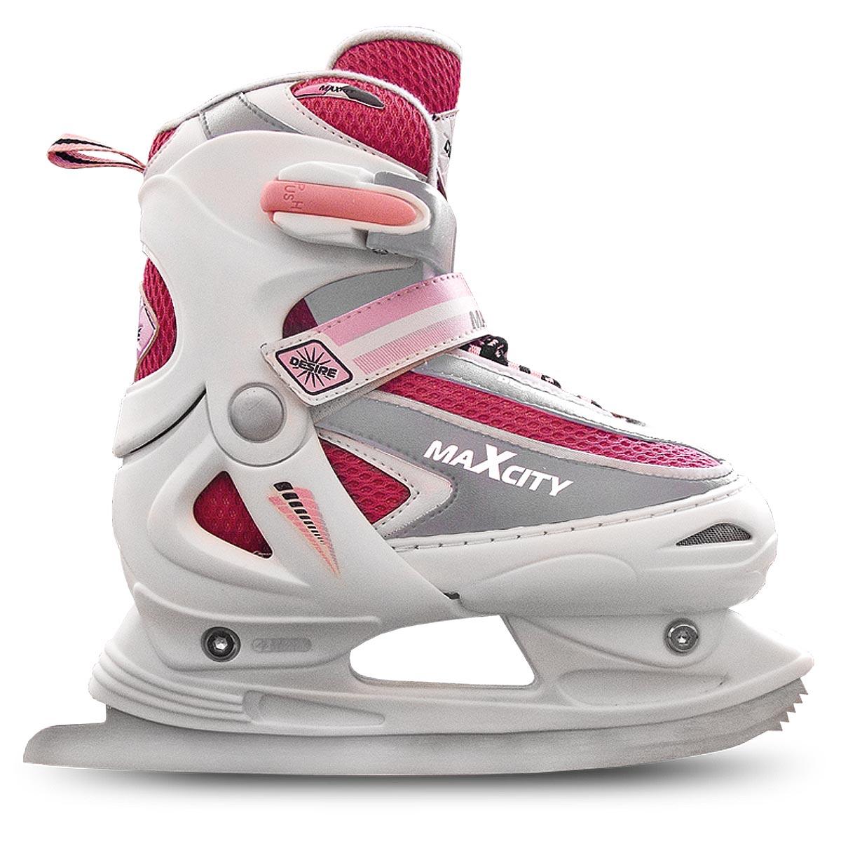 Коньки ледовые женские MaxCity Desire Girl, раздвижные, цвет: розовый, белый, серебряный. Размер 38/41