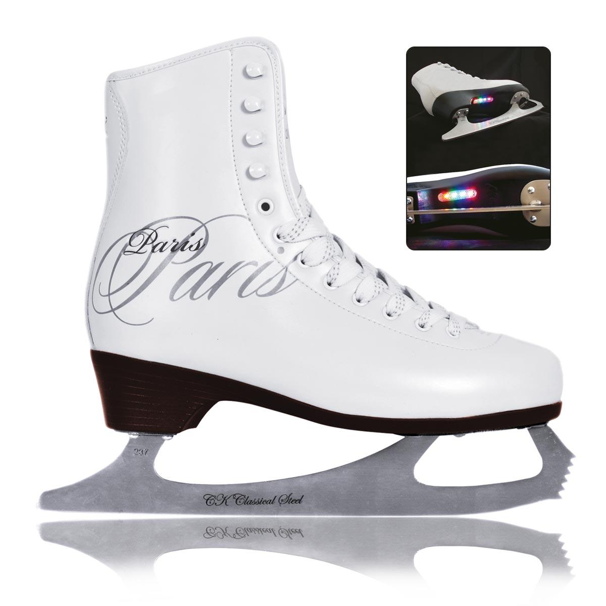 Коньки фигурные для девочки CK Paris Lux Tricot, цвет: белый. Размер 30