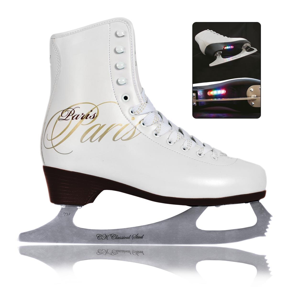 Коньки фигурные для девочки СК Paris Lux Fur, цвет: белый. Размер 30