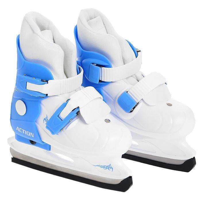 Коньки ледовые Action, раздвижные, цвет: голубой, белый. PW-219. Размер 37/40