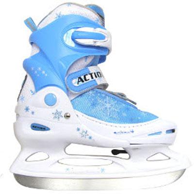 Коньки ледовые детские Action, раздвижные, цвет: белый, голубой. PW-211F. Размер 26/29 PW-211F-2_26/29