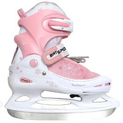 Коньки ледовые детские Action, раздвижные, цвет: белый, розовый. PW-211F. Размер 26/29