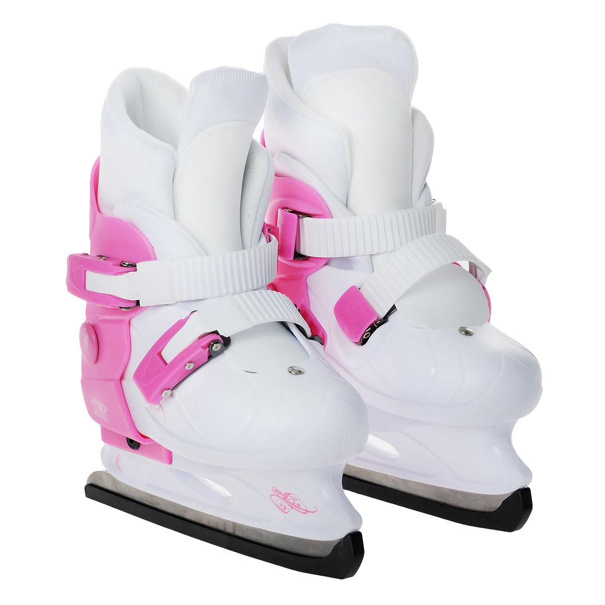 Коньки ледовые детские Action, раздвижные, цвет: розовый, белый. PW-219. Размер 33/36PW-219-1_33/36Коньки торговой марки Action предназначены для любительского катания на искусственном и естественном льду, произведены из современных высококачественных материалов. Удобно, комфортно и просто изменить размер коньков. Удобный и надежный механизм застегивания, включающий две клипсы с фиксаторами, а так же специальная манжета, облегчающая ступню, делают катание на этих коньках безопасным и комфортным. Лезвие изготовлено из нержавеющей стали.