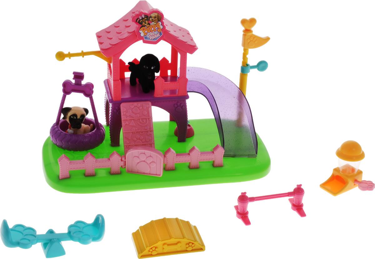 Puppy In My Pocket Игровая площадка для щенков с фигурками48Большой красочный набор Игровая площадка для щенков со множеством функций станет отличным подарком для девочки, особенно, если она является поклонницей популярного мультсериала Щенок в моём кармане. Игровой набор включает в себя 2 эксклюзивные фигурки щенков, горку, качели-колесо, столбик с флажком, открывающуюся входную дверцу, дозатор-миску для щенков с двумя косточками, питьевой фонтанчик, качели-балансир, барьер для прыжков, горку для ходьбы. Словом, в этом замечательном наборе есть всё, что нужно, чтобы ваши карманные щенки отлично провели время на игровой площадке! Puppy In My Pocket - это новый бренд игрушек, созданных по одноименному мультфильму, объединяющий более 100 различных персонажей! Симпатичные маленькие пластиковые собачки имеют специальное текстильное напыление (флокирование), делающее их очень приятными на ощупь. Это настоящий подарок для коллекционера!