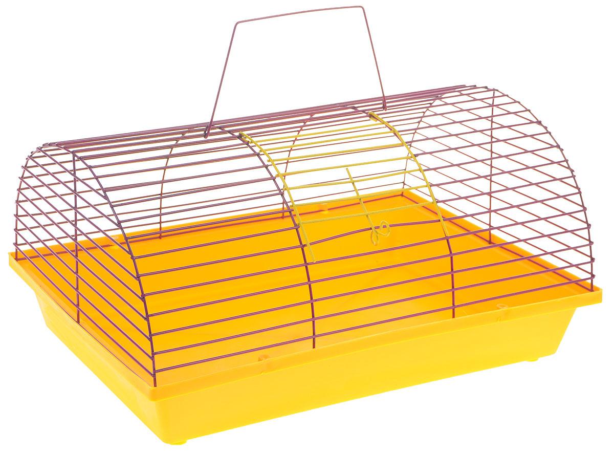 Клетка для грызунов ЗооМарк, цвет: желтый поддон, сиреневая решетка, 36 х 23 х 17,5 см80_желтый, сиреневыйКлетка ЗооМарк, выполненная из полипропилена и металла, подходит для мелких грызунов. Она имеет яркий поддон, удобна в использовании и легко чистится. Сверху имеется ручка для переноски. Такая клетка станет уединенным личным пространством и уютным домиком для маленького грызуна.
