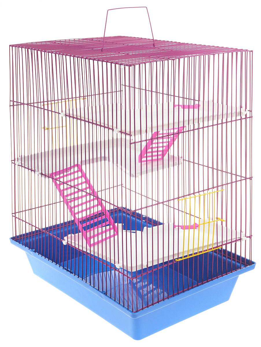 Клетка для грызунов ЗооМарк Гризли, 4-этажная, цвет: синий поддон, фиолетовая решетка, 41 х 30 х 50 см240_синий, фиолетовыйКлетка ЗооМарк Гризли, выполненная из полипропилена и металла, подходит для мелких грызунов. Изделие четырехэтажное. Клетка имеет яркий поддон, удобна в использовании и легко чистится. Сверху имеется ручка для переноски. Такая клетка станет уединенным личным пространством и уютным домиком для маленького грызуна.