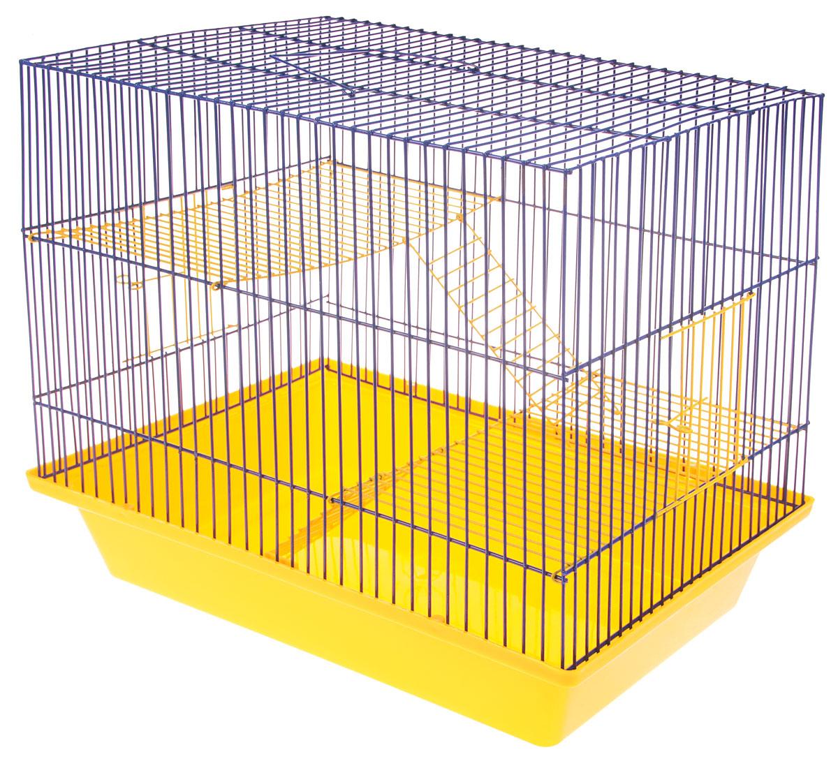 Клетка для грызунов ЗооМарк Гризли, 3-этажная, цвет: желтый поддон, синяя решетка, желтые этажи, 41 х 30 х 36 см. 230ж230ж_желтый, синийКлетка ЗооМарк Гризли, выполненная из полипропилена и металла, подходит для мелких грызунов. Изделие трехэтажное. Клетка имеет яркий поддон, удобна в использовании и легко чистится. Сверху имеется ручка для переноски. Такая клетка станет уединенным личным пространством и уютным домиком для маленького грызуна.