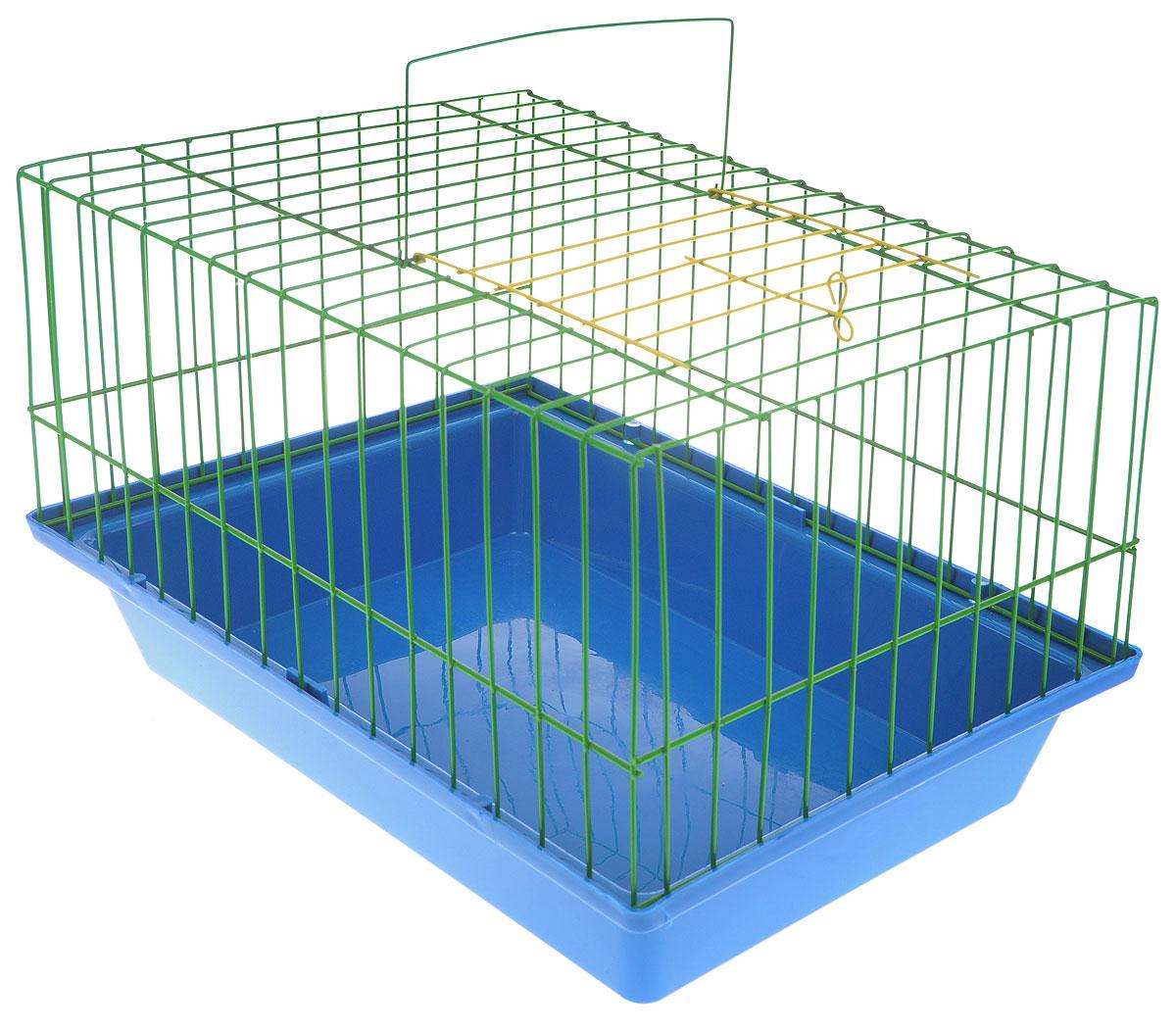 Клетка для морской свинки ЗооМарк, цвет: синий поддон, зеленая решетка, 41 х 30 х 25 см210_синий, зеленыйКлетка ЗооМарк, выполненная из полипропилена и металла, подходит для морских свинок и других грызунов. Клетка имеет яркий поддон, удобна в использовании и легко чистится. Сверху имеется ручка для переноски. Такая клетка станет личным пространством и уютным домиком для вашего питомца.