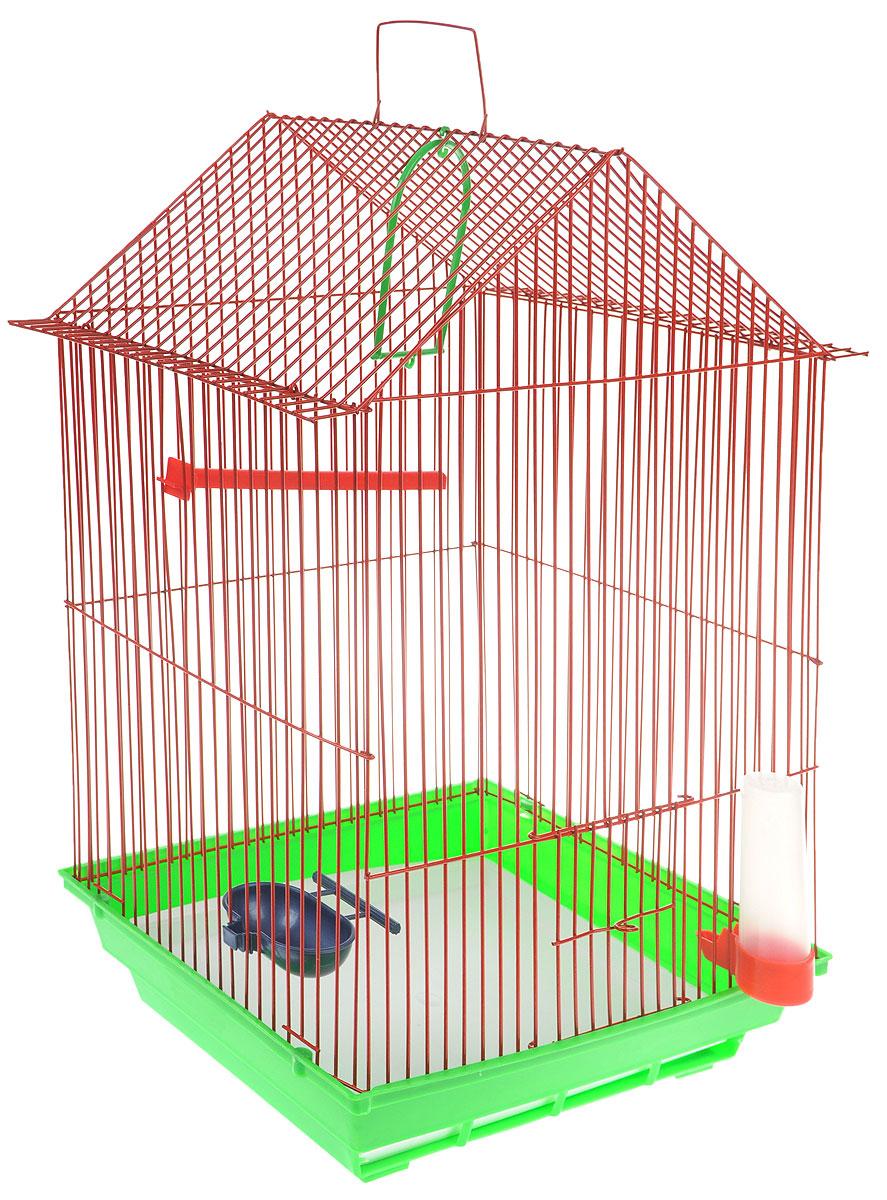 Клетка для птиц ЗооМарк, цвет: зеленый поддон, красная решетка, 34 x 28 х 54 см430_зеленый, красныйКлетка ЗооМарк, выполненная из полипропилена и металла с эмалированным покрытием, предназначена для мелких птиц. Изделие состоит из большого поддона и решетки. Клетка снабжена металлической дверцей. В основании клетки находится малый поддон. Клетка удобна в использовании и легко чистится. Она оснащена жердочкой, кольцом для птицы, поилкой, кормушкой и подвижной ручкой для удобной переноски. Комплектация: - клетка с поддоном, - малый поддон; - поилка; - кормушка; - кольцо.