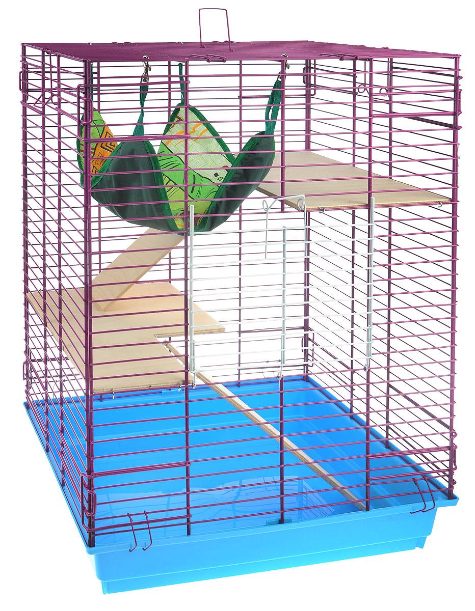 Клетка для шиншилл и хорьков ЗооМарк, цвет: голубой поддон, фиолетовая решетка, 59 х 41 х 79 см. 725дк725дк_голубой, фиолетовыйКлетка ЗооМарк, выполненная из полипропилена и металла, подходит для шиншилл и хорьков. Большая клетка оборудована длинными лестницами и гамаком. Изделие имеет яркий поддон, удобно в использовании и легко чистится. Сверху имеется ручка для переноски. Такая клетка станет уединенным личным пространством и уютным домиком для грызуна.