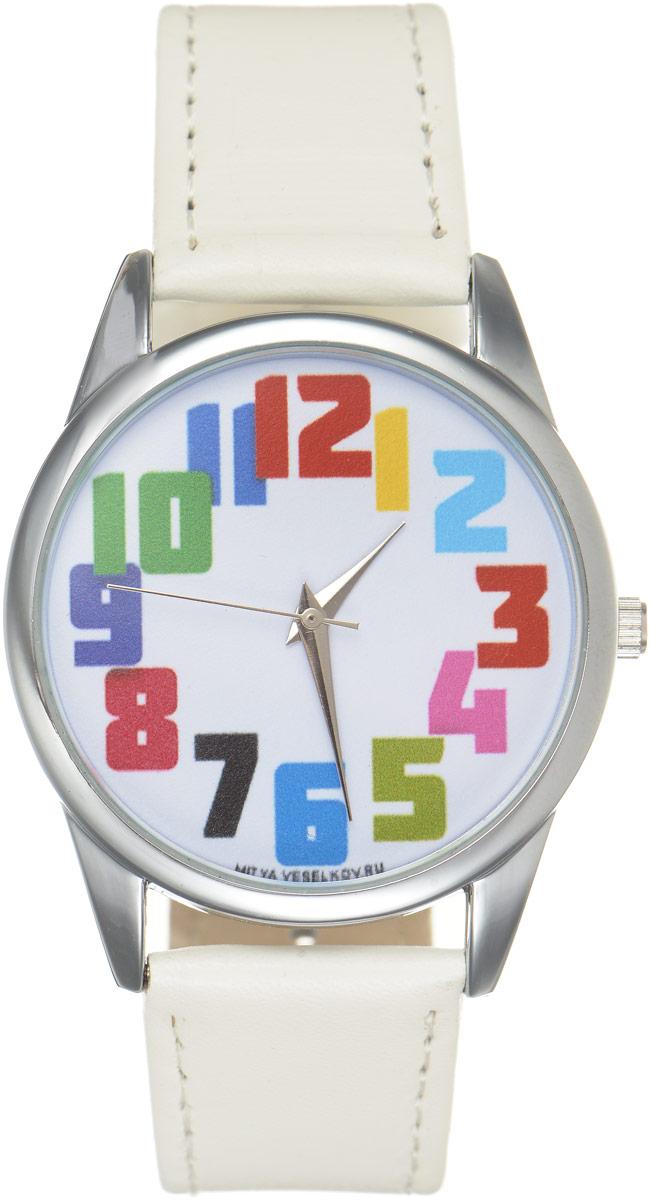 Часы наручные Mitya Veselkov Числа, цвет: белый, мультиколор. MV.White-57MV.White-57Оригинальные часы Mitya Veselkov Числа понравятся вам с первого взгляда. Корпус часов выполнен из стали, и дополнен задней крышкой. В центре корпуса располагаются круглые кварцевые часы с тремя стрелками. Цифры выполнены в разных цветах. Часы оснащены кожаным ремешком, который фиксируется с помощью пряжки. Часы упакованы в фирменную упаковку в виде стакана. Такие часы станут отличным подарком человеку, любящему качественные и оригинальные вещи.
