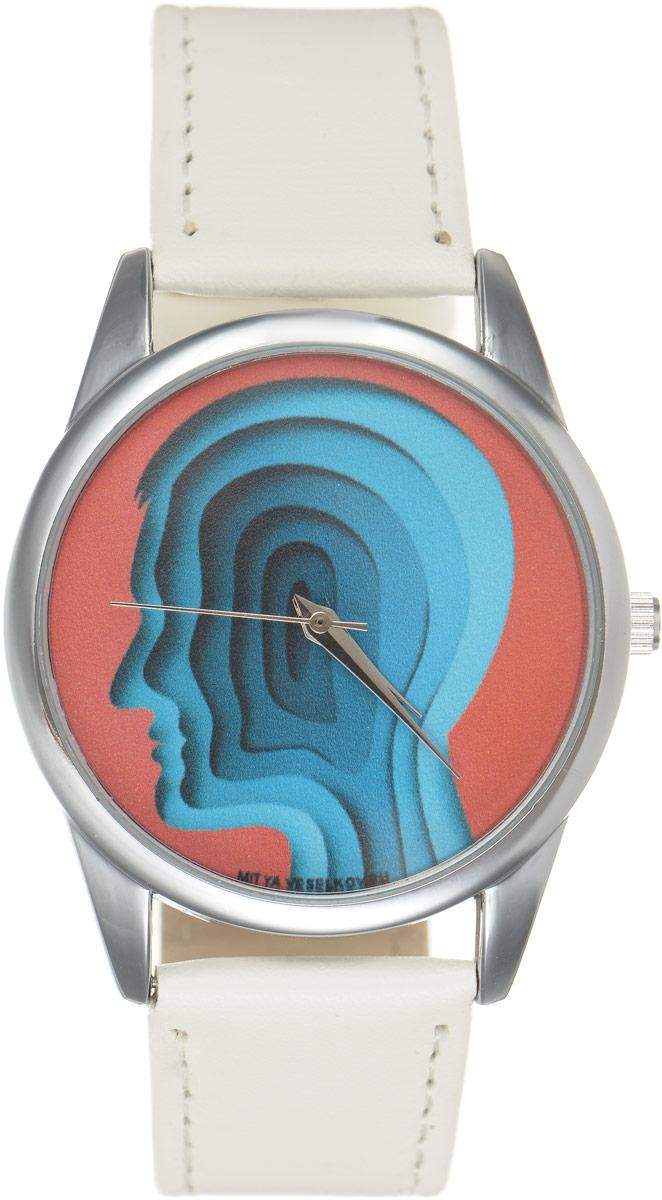 "Часы наручные Mitya Veselkov ""Голова"", цвет: белый, красный, синий. MV.White-59"
