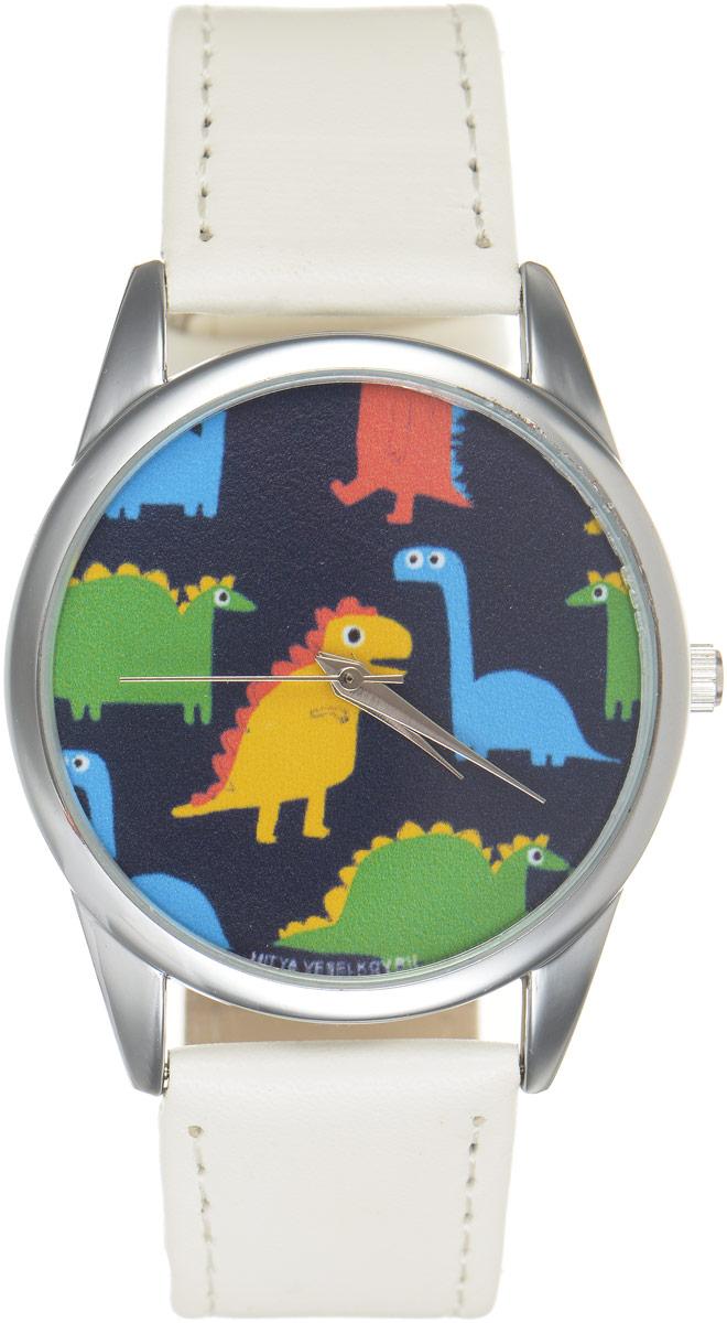 Часы наручные Mitya Veselkov Динозавры, цвет: белый, черный, мультиколор. MV.White-68MV.White-68Оригинальные часы Mitya Veselkov Динозавры понравятся вам с первого взгляда. Корпус часов выполнен из стали, и дополнен задней крышкой. В центре корпуса располагаются круглые кварцевые часы с тремя стрелками. Циферблат оформлен оригинальным принтом с изображением разноцветных динозавров. Часы оснащены кожаным ремешком, который фиксируется с помощью пряжки. Часы упакованы в фирменную упаковку в виде стакана. Такие часы станут отличным подарком человеку, любящему качественные и оригинальные вещи.