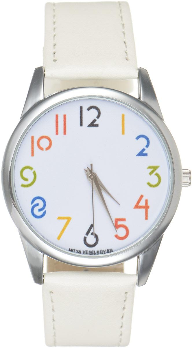 Часы наручные Mitya Veselkov Цифры, цвет: белый. MV.White-56MV.White-56Оригинальные часы Mitya Veselkov Цифры понравятся вам с первого взгляда. Корпус часов выполнен из стали, и дополнен задней крышкой. В центре корпуса располагаются круглые кварцевые часы с тремя стрелками. Цифры на циферблате выполнены в разных цветах. Часы оснащены кожаным ремешком, который фиксируется с помощью пряжки. Часы упакованы в фирменную упаковку в виде стакана. Такие часы станут отличным подарком человеку, любящему качественные и оригинальные вещи.
