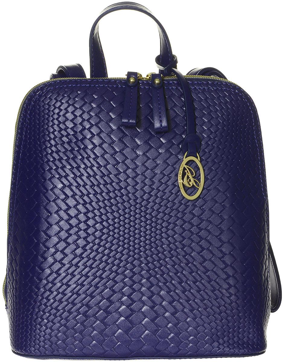 Рюкзак женский Jane Shilton, цвет: темно-синий. 22142214Стильный женский рюкзак Jane Shilton не оставит вас равнодушной благодаря своему дизайну и практичности. Он изготовлен искусственной кожи и оформлен декоративным тиснением. На тыльной стороне расположен небольшой вшитый карман на молнии. Рюкзак оснащен удобными лямками, длина которых регулируется с помощью пряжек. Также рюкзак имеет удобную ручку, которая оформлена фирменной металлической подвеской. Изделие закрывается на удобную молнию. Внутри расположено главное отделение, которое разделяет карман-средник на молнии. Также внутри расположен один открытый накладной карман для телефона и один вшитый карман на молнии для мелочей. Такой модный и практичный рюкзак завершит ваш образ и станет незаменимым аксессуаром в вашем гардеробе.