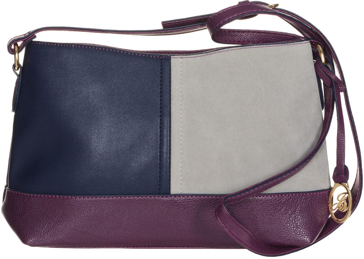 Сумка женская Jane Shilton, цвет: пурпурный, темно-синий, серый. 21312131м_purpleСтильная сумка Jane Shilton не оставит вас равнодушной благодаря своему дизайну и практичности. Она изготовлена из качественной искусственной кожи зернистой, гладкой и ворсистой текстуры разных цветов. На тыльной стороне расположен удобный вшитый карман на молнии. Изделие оснащено удобным плечевым ремнем, который оформлен металлической фирменной подвеской. Длина ремня регулируется с помощью пряжки. Изделие закрывается на удобную молнию. Внутри расположено одно главное отделение, которое разделяет карман-средник на молнии. Также внутри расположен один открытый накладной карман для телефона и один вшитый карман на молнии для мелочей. Такая модная и практичная сумка завершит ваш образ и станет незаменимым аксессуаром в вашем гардеробе.