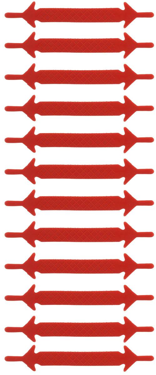 Шнурки силиконовые Hilace Group, цвет: красный, 12 шт2197Оригинальные силиконовые шнурки Hilace Group не оставят вас равнодушными благодаря своему яркому дизайну и практичности. Они изготовлены из качественного термостойкого силикона. Такие шнурки упростят надевание обуви и надежно зафиксируют ее без стягивания стопы, выдержат низкие и высокие температуры, подойдут как взрослым, так и детям.