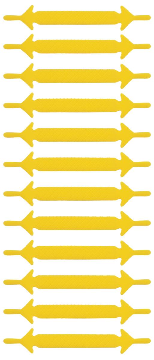 Шнурки силиконовые Hilace Group, цвет: желтый, 12 шт2173Оригинальные силиконовые шнурки Hilace Group не оставят вас равнодушными благодаря своему яркому дизайну и практичности. Они изготовлены из качественного термостойкого силикона. Такие шнурки упростят надевание обуви и надежно зафиксируют ее без стягивания стопы, выдержат низкие и высокие температуры, подойдут как взрослым, так и детям.