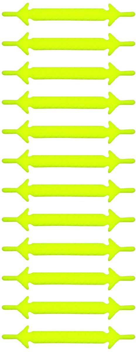 Шнурки флуоресцентные силиконовые Hilace Group, цвет: желтый, 12 шт2180Оригинальные флуоресцентные силиконовые шнурки Hilace Group не оставят вас равнодушными благодаря своему яркому дизайну и практичности. Они изготовлены из качественного термостойкого силикона. Также они обладают флуоресцентными свойствами и светятся в темноте. Такие шнурки упростят надевание обуви и надежно зафиксируют ее без стягивания стопы, выдержат низкие и высокие температуры, подойдут как взрослым, так и детям.