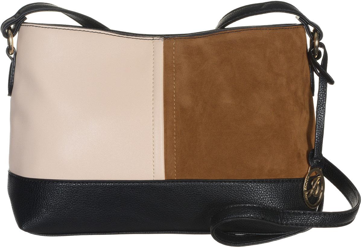 Сумка женская Jane Shilton, цвет: черный, коричневый, бежевый. 21312131м_blСтильная сумка Jane Shilton не оставит вас равнодушной благодаря своему дизайну и практичности. Она изготовлена из качественной искусственной кожи зернистой, гладкой и ворсистой текстуры разных цветов. На тыльной стороне расположен удобный вшитый карман на молнии. Изделие оснащено удобным плечевым ремнем, который оформлен металлической фирменной подвеской. Длина ремня регулируется с помощью пряжки. Изделие закрывается на удобную молнию. Внутри расположено одно главное отделение, которое разделяет карман-средник на молнии. Также внутри расположен один открытый накладной карман для телефона и один вшитый карман на молнии для мелочей. Такая модная и практичная сумка завершит ваш образ и станет незаменимым аксессуаром в вашем гардеробе.
