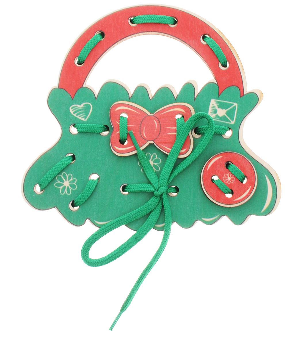 Развивающие деревянные игрушки Шнуровка-сумочка Итальянская историяД475аШнуровка Развивающие деревянные игрушки Итальянская история выполнена в виде сумочки для маленьких модниц. Играя с этой шнуровкой, ребенок научится шнуровать и завязывать шнурочки на бантик. Игрушка поможет ребенку развить воображение, научиться компоновать и привязывать различные элементы друг к другу, создавая свой модный детский аксессуар. Шнуровка - незаменимая игрушка для развития мелкой моторики. А шнуровка в виде веселой игры станет для ребенка самым любимым развлечением.